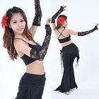 New Belly Dance Costume 2 piece Lace gloves Armbands Arm sleeve Black