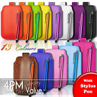 LEATHER PULL TAB SKIN CASE COVER POUCH AND STYLUS PEN FITS VARIOUS NOKIA MOBILES
