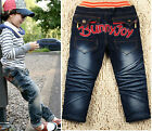 New Size 2-7Y Casual Boys Pants Kids Fashion Printing Letters Jeans PB043 A