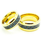 Matching 8mm & 10mm 18k Gold Plated Black & Blue Carbon Fiber Tungsten Rings