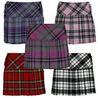Girls Tartan Pleated 4 Cover Buttoned Kilt  Skirt Age 3 to 14