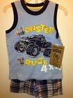 Infant Newborn Toddler Boy 2 Piece Outfit shirt shorts tank top plaid Trucks car