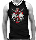 Skull Barbed Wire Celtic Cross Mens Sleeveless Muscle T Tank Top Vest Sm - 2XL