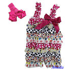 Baby Girls White Hot Pink Heart Black Polka Dots Petti Rompers Bow Headband 0-3Y