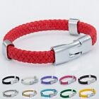 Colorful Mens Womens Braided Rope Surfer Man-made Leather Bracelet Wristband 8''