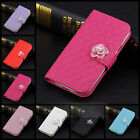 Luxury Crystal Camellia Leather Wallet Card Flip Case Cover for iPhone 4 4G 4S