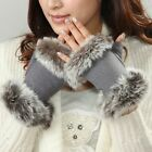 NWT WARMEN Women's Stretch knit winter warmer wool rabbit fur fingerless gloves
