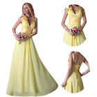 GK Yellow Sexy Deep V-neck Prom Bridal Bridesmaid Gowns Evening Party Long Dress