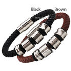 Brown/Black Faux Leather Boy Mens Bracelet Silver Charm Wristband Magnetic Clasp