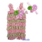 Light Pink Lime Green Rosettes Pearl Lace Petti Romper Crystal Headband NB-3Y