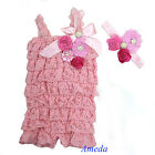 Baby Girls Light Pink Rosettes Pearl Lace Petti Romper Crystal Headband NB-3Y