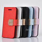 Bling Crystal Wallet Luxury PU Leather Magnetic Flip Cover Case for iPhone 4 4S