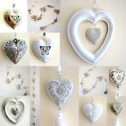 Distressed / Shabby Chic HEART Wall Decoration - choose White or Silver