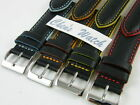 HQ 22MM RED ORANGE 4 COLORS EDGE STITCH ITALY LEATHER WATCH BAND 22/20 MM STRAP