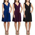 Stretch Jersey Pleated V-Neck Sleeveless Cocktail Party Flare Dress co4255
