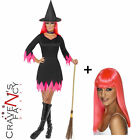 Smiffys Ladies Neon Pink Witch ADD Wig Halloween Fancy Dress Costume Horror 80s