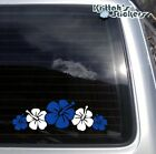 Hibiscus Flowers #4 Blue & White Vinyl Decal flower art design car sticker F046