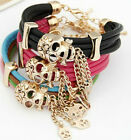 Punk Skull PU Leather Multilayer Bracelet Bangle 3 Colours