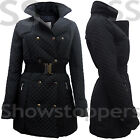 Size 8 10 12 14 16 Women MILITARY Ladies Quilted JACKET COAT PADDED TRENCH Black
