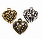 New 50Pcs 3Colors Lover Heart Charms Pendant For Bracelet Necklace Making DIY