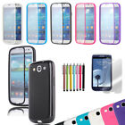 TPU Wrap Up Anti-scratch Case w/ Screen Protector For Samsung Galaxy S III i9300