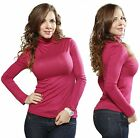 Fuschia Basic Mock Turtleneck Stretch Long Sleeve Casual Solid T Shirt Tee Top