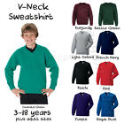 Boys School V-Neck Fleece Sweatshirt Uniform Age 4-18 + Adult Sizes