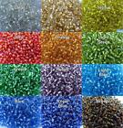 50g Silver Lined Seed Beads size 11/0~2mm, 8/0~3mm & 6/0~4mm. 12 Colour choices