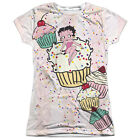 Betty Boop on Cupcake Cake Boop 1-Sided Big Print Poly Tee Shirt Junior's S-2XL $32.9 CAD on eBay