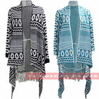 U58 NEW WOMENS LONG SLEEVE AZTEC KNITTED FRING LADIES WATERFALL TASSEL CARDIGAN.