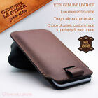 Luxury Genuine Top Layer Leather Pull Tab Slide In Case Cover Sleeve Pouch