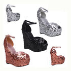WOMENS LADIES PEEP TOE BUCKLE PLATFORM SEQUIN EVENING PARTY WEDGE SHOES SIZE