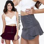 Women Ruffled Hem Front Zip High Waist Polyester Stretch Flounce Mini Skirt