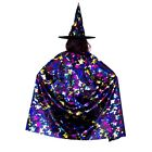 Black Witch Cape and Hat Metallic Rainbow Scary Halloween Costume One Size Adult
