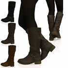 LADIES WOMENS UNDER KNEE MID CALF WINTER FASHION BIKER CASUAL BOOTS SIZE7 8 9 10