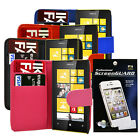 PU LEATHER WALLET FLIP  PHONE CASE COVER FOR NOKIA LUMIA 520 + Screen Protector