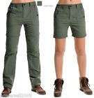 Woman Army Green Quick Dry Outdoor Hiking Bush Walking UV50+Zip Off Pants Shorts