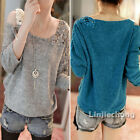 New Women Off Shoulder Floral Crochet Knitted Casual Thin Sweater Tops Pullover