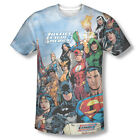 DC JLA Justice League of America Member Sublimation ALL OVER Vintage T-shirt top