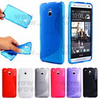 Screen Protector + TPU Gel S-Line Wave Soft Back Case Cover For HTC One Mini M4