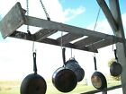 "5 Step Pot Rack using Vintage Ladder - 58"" Long Wooden Ladder Pot Rack Ready"