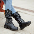 WOMENS PUNK MOTORCYCLE BUCKLE STRAP LOW HEELS PULL ON BOOTS SLOUCH MID CALF BOOT