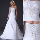 Graceful High Quality Women Long Sexy Satin Formal Party Wedding Dresses Gown