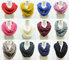 Women Winter Warm Infinity 2 Circle Cable Knitting Cowl Neck Long Scarf Shawl