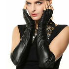 Women Long Genuine leather half finger gloves Black L140NN