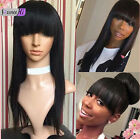 """12"""" full * lace front wig 100% remy human hair silky straight wigs with bangs"""