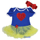 Baby Girls Red Rosettes Heart Blue Snow White Romper Bodysuit Pettiskirt 0-18M