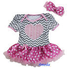 Baby Girls Pink Rose Heart Gray Chevron Polka Dots Romper Bodysuit Pettiskirt
