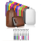 PU LEATHER PULL TAB CASE & RETRACTABLE PEN FOR SMALL HTC MOBILE PHONES