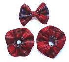 "Tartan Red Handmade 3.5"" Bow Hair Clip+Matching Scrunchie(s) Plaid Cotton Fabric"